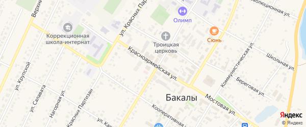 Красноармейская улица на карте села Бакалы с номерами домов