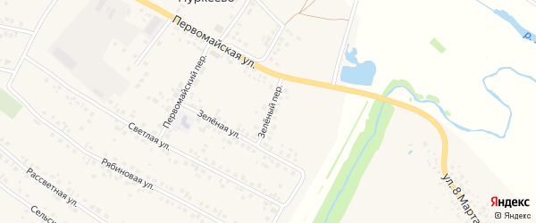 Зеленый переулок на карте деревни Нуркеево с номерами домов