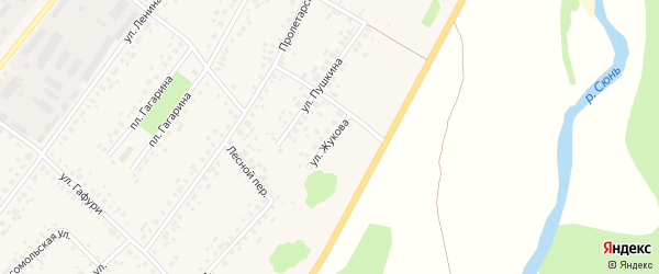Улица Жукова на карте села Бакалы с номерами домов