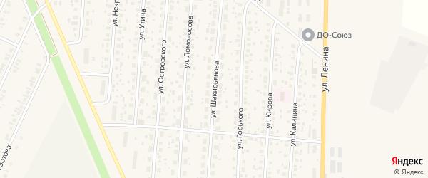 Улица Шакирьянова на карте села Бакалы с номерами домов
