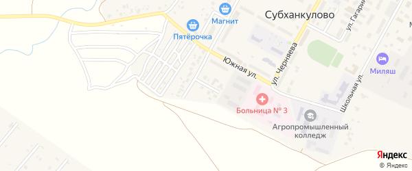 Переулок Нефтяников на карте села Субханкулово с номерами домов