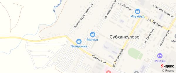 Железнодорожный переулок на карте села Старого Субханкулово с номерами домов