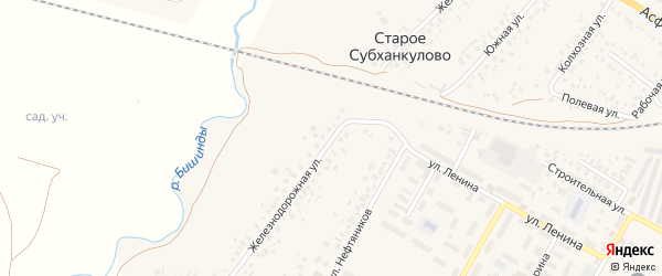 Железнодорожная улица на карте села Субханкулово с номерами домов