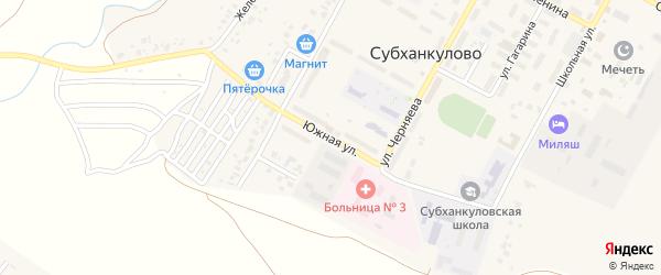 Южная улица на карте села Субханкулово с номерами домов