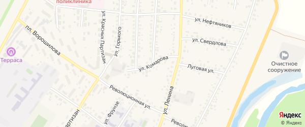 Улица Комарова на карте села Бакалы с номерами домов
