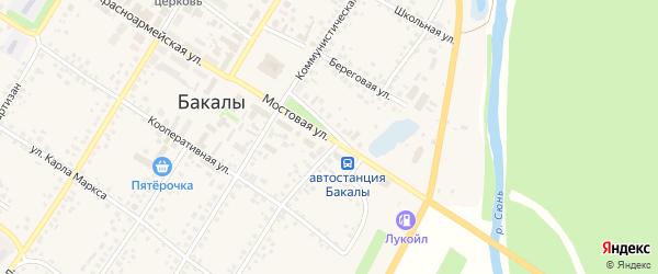 Мостовая улица на карте села Бакалы с номерами домов