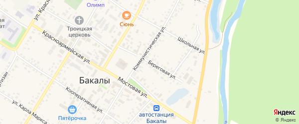Береговая улица на карте села Бакалы с номерами домов