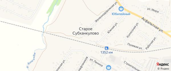 Асфальтная улица на карте села Старого Субханкулово с номерами домов