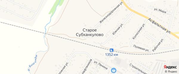 Магистральная улица на карте села Старого Субханкулово с номерами домов