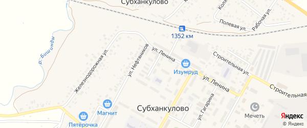 Улица Титова на карте села Субханкулово с номерами домов