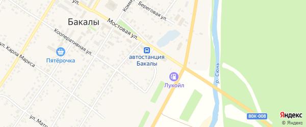 Пролетарский переулок на карте села Бакалы с номерами домов