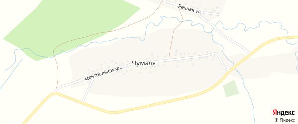 Центральная улица на карте деревни Чумали с номерами домов
