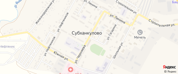Улица Черняева на карте села Субханкулово с номерами домов