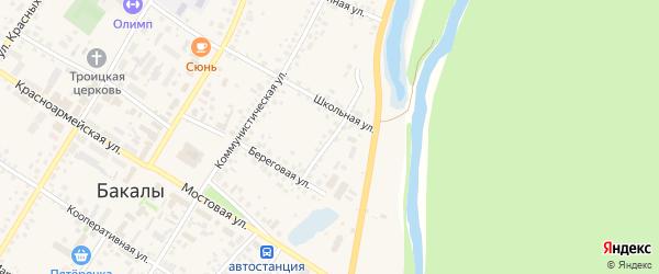 Береговой переулок на карте села Бакалы с номерами домов