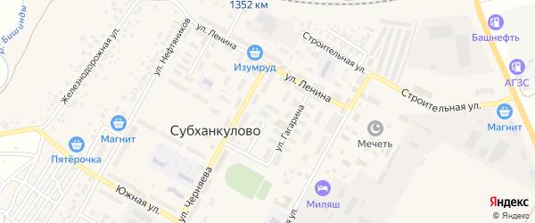 Улица Гагарина на карте села Субханкулово с номерами домов