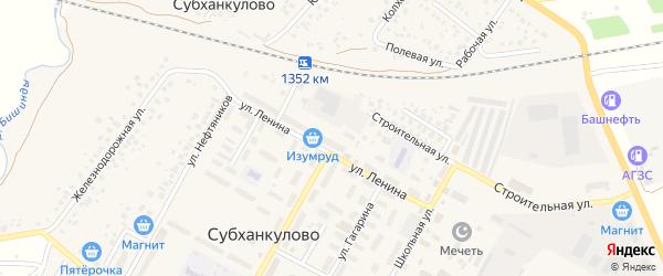 Асфальтная улица на карте села Субханкулово с номерами домов
