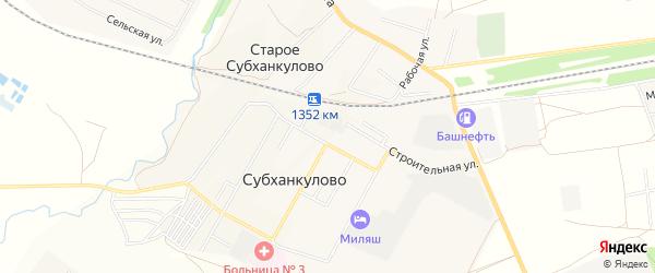 Карта села Субханкулово в Башкортостане с улицами и номерами домов