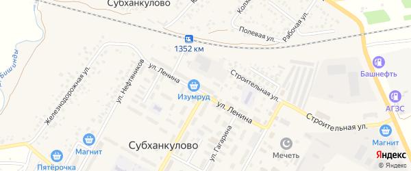 Улица Строителей на карте села Субханкулово с номерами домов