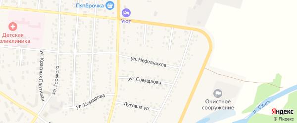 Улица Нефтяников на карте села Бакалы с номерами домов