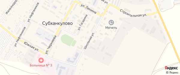 Школьная улица на карте села Субханкулово с номерами домов