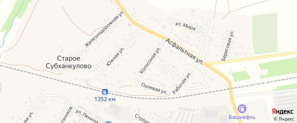 Колхозная улица на карте села Субханкулово с номерами домов
