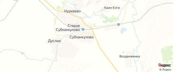 Карта Субханкуловского сельсовета республики Башкортостан с районами, улицами и номерами домов