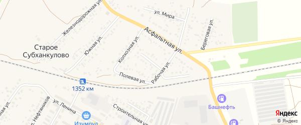 Советская улица на карте села Субханкулово с номерами домов