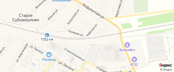 Полевая улица на карте села Субханкулово с номерами домов