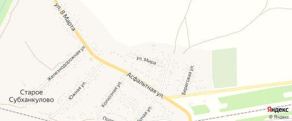 Улица Мира на карте села Субханкулово с номерами домов