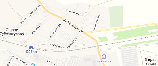 Рабочая улица на карте села Субханкулово с номерами домов
