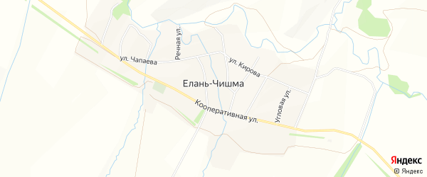 Карта села Елани-Чишма в Башкортостане с улицами и номерами домов