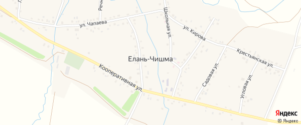 Луговая улица на карте села Елани-Чишма с номерами домов