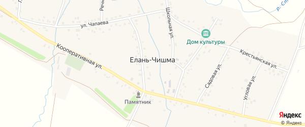 Школьная улица на карте села Елани-Чишма с номерами домов