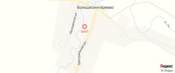 Центральная улица на карте села Большезингереево с номерами домов