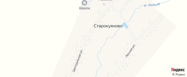 Центральная улица на карте села Старокуяново с номерами домов