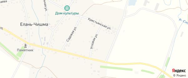 Угловая улица на карте села Елани-Чишма с номерами домов