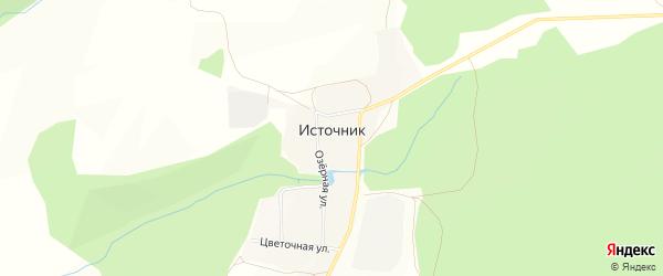 Карта деревни Источника в Башкортостане с улицами и номерами домов