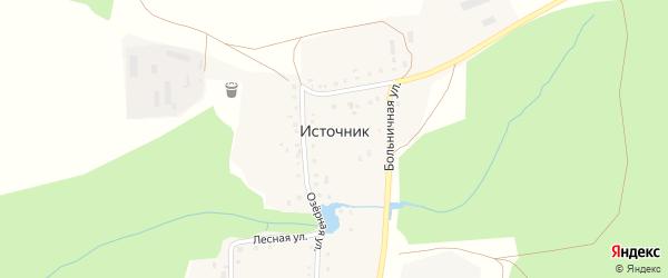 Шоссейная улица на карте деревни Источника с номерами домов
