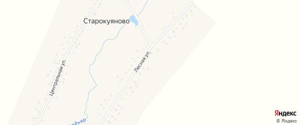 Лесная улица на карте села Старокуяново с номерами домов