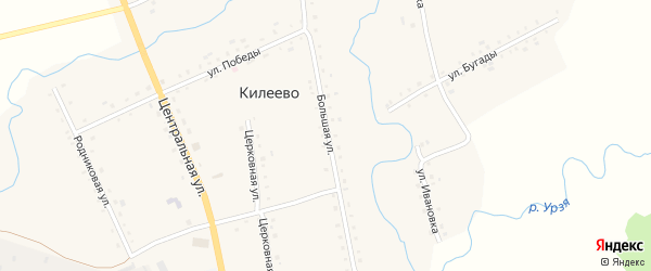 Большая улица на карте села Килеево с номерами домов