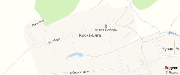 Радужная улица на карте деревни Киски-Елги с номерами домов