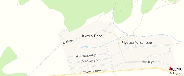 Карта деревни Киски-Елги в Башкортостане с улицами и номерами домов