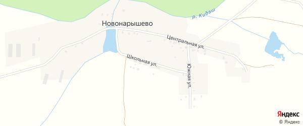 Школьная улица на карте деревни Новонарышево с номерами домов