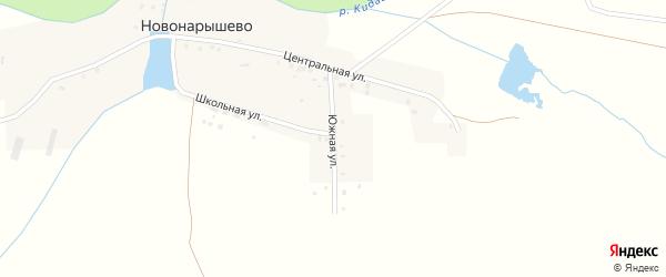 Южная улица на карте деревни Новонарышево с номерами домов