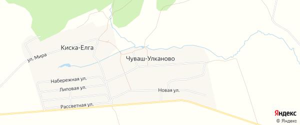 Карта деревни Чуваш-Улканово в Башкортостане с улицами и номерами домов