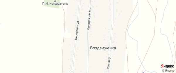 Молодежная улица на карте деревни Воздвиженки с номерами домов