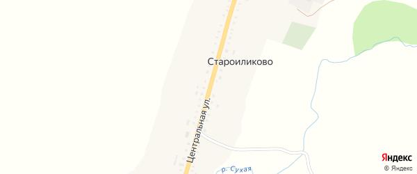 Центральная улица на карте села Староиликово с номерами домов