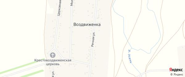 Речная улица на карте деревни Воздвиженки с номерами домов