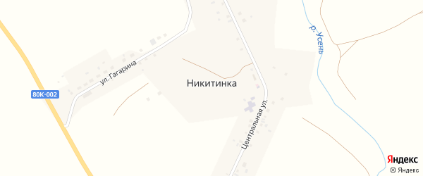 Парковая улица на карте деревни Никитинки с номерами домов