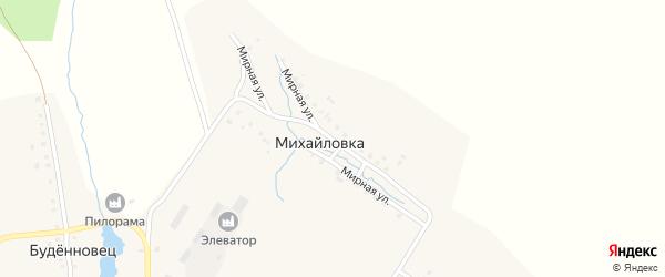 Мирная улица на карте села Михайловки с номерами домов